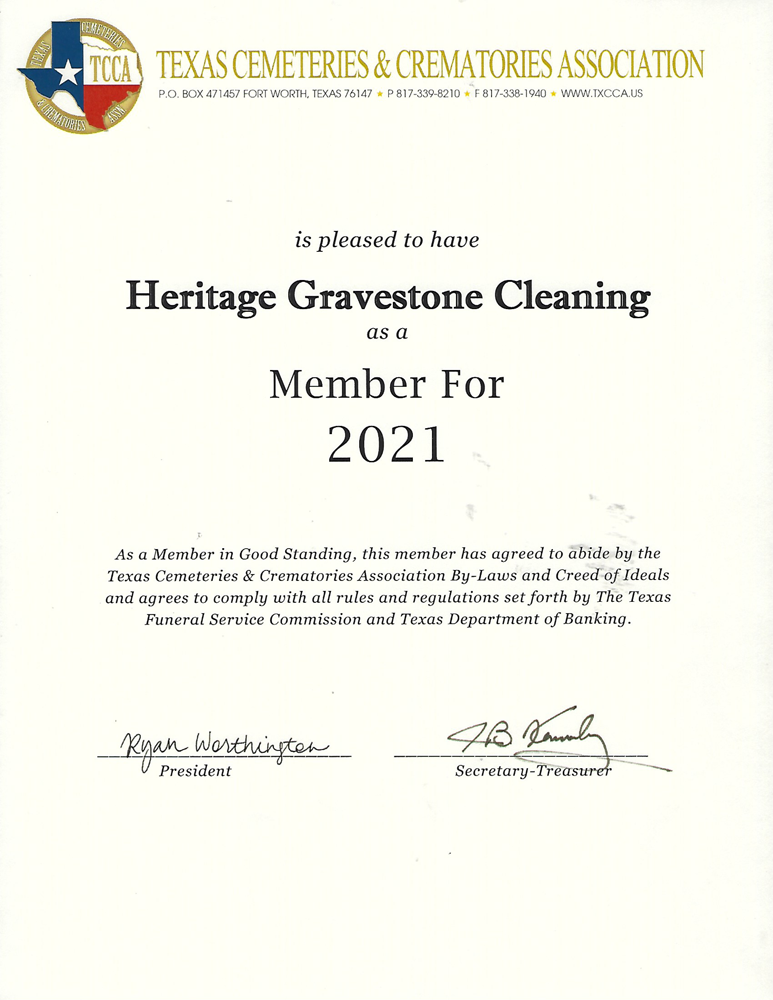 We want to thank the Texas Cemeteries & Crematories Associations for giving us this certificate, it is a great honor to serve the communities. Soda Blast Texas dba Heritage Gravestone Cleaning